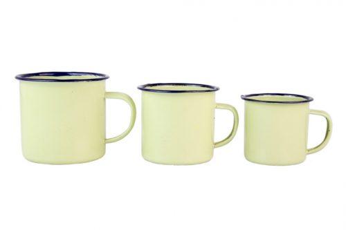 Set de tazas esmaltadas en tonos verde musgo