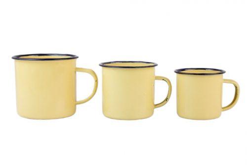 Set de 3 tazas esmaltadas en tonos siena natural
