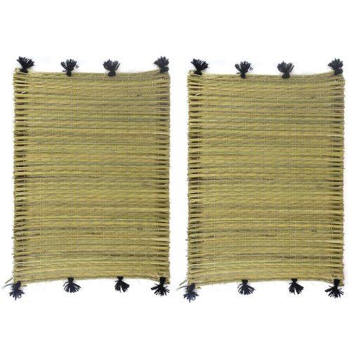 Set de 2 manteles individuales pompones negro