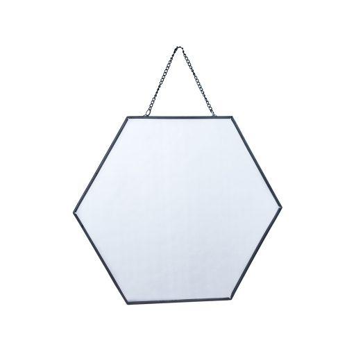 Espejo hexagonal negro grande