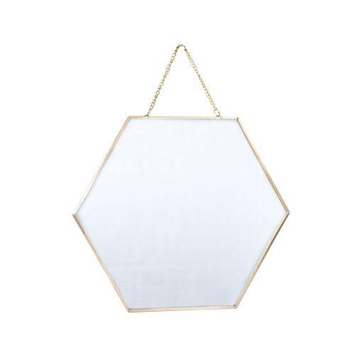 Espejo hexagonal dorado grande