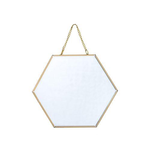 Espejo hexagonal dorado pequeño