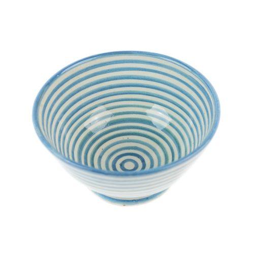 Ensaladera cerámica rayas azul