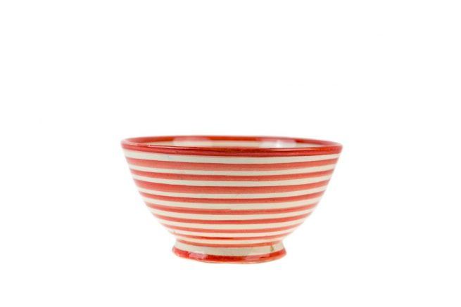 Ensaladera cerámica rayas rojo