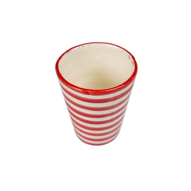 Vaso de cerámica rayas rojo