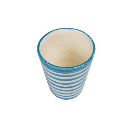 Vaso de cerámica rayas azul