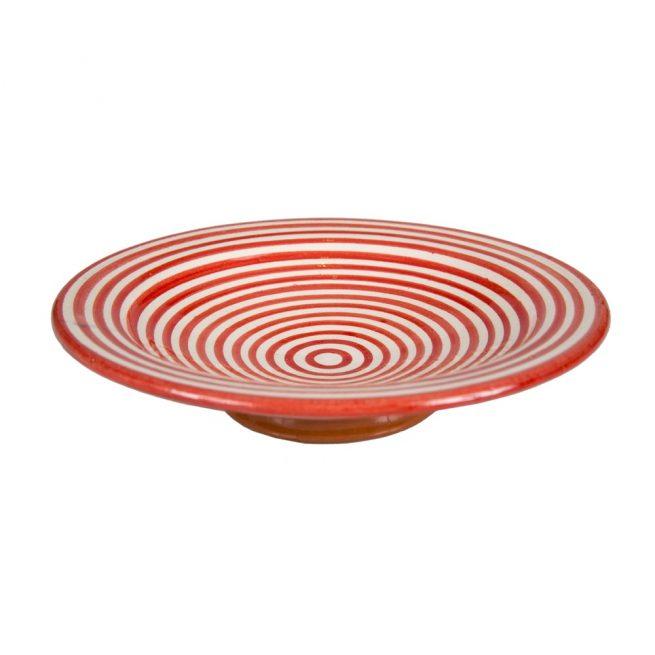 Plato de cerámica rayas rojo