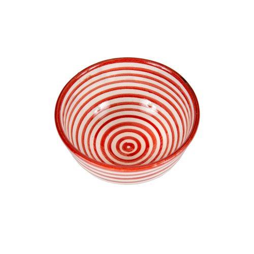 Cuenco de cerámica rayas rojo