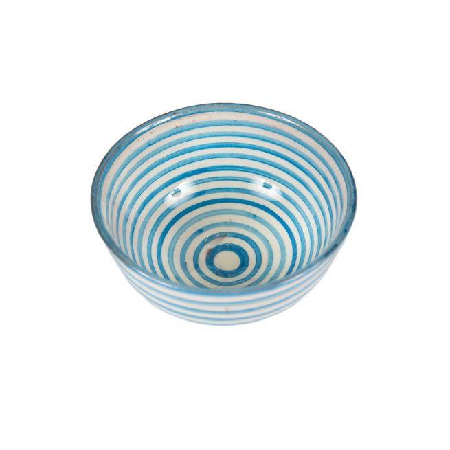 Cuenco de cerámica rayas azul