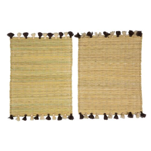 Set de 2 manteles individuales pompones marrón/beige