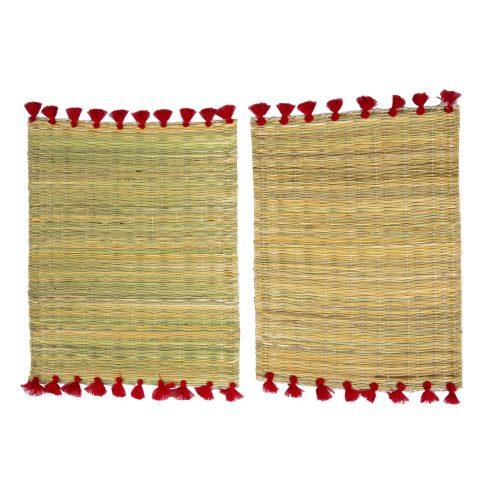 Set de 2 manteles individuales pompones rojos