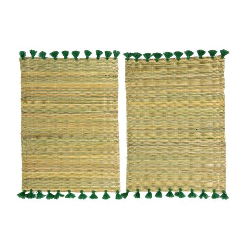 Set de 2 manteles individuales pompones verde oscuro