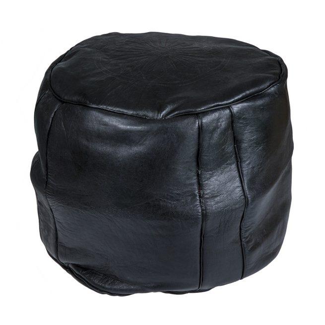 Pouf de cuero negro (alto)