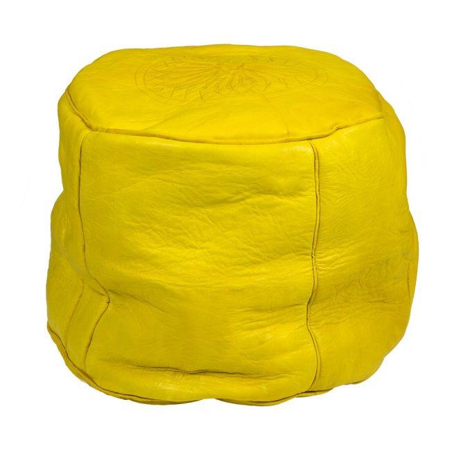 Pouf de cuero amarillo (alto)