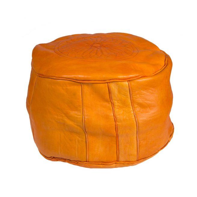 Pouf de cuero naranja (pequeño)