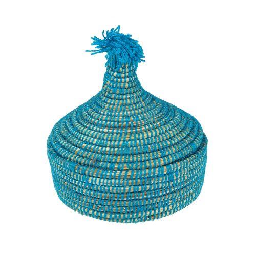 Cesto de lana con tapa (azul)