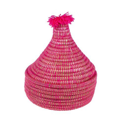 Cesto de lana con tapa (rosa)