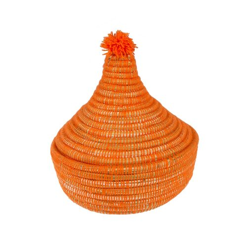 Cesto de lana con tapa (naranja)