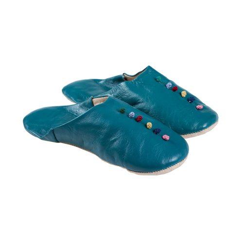 Babuchas de mujer azul con pompones