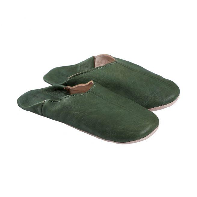 Babuchas de hombre verde oscura