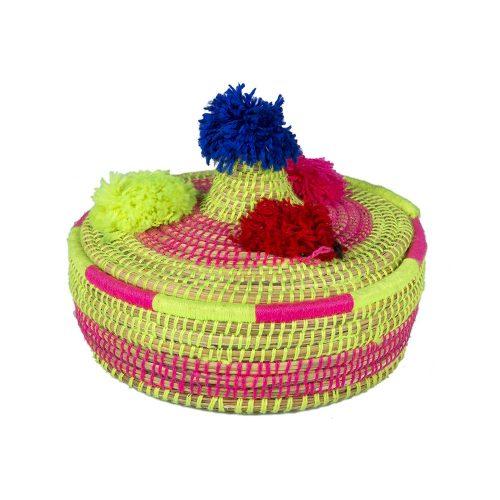 Cesto de lana con tapa