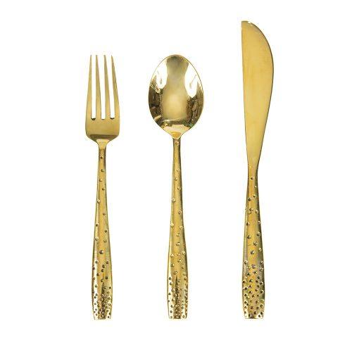 Cubiertos de mesa de metal dorado (Set de 3)